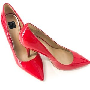 White House Black Market Red Leather Patent Heels